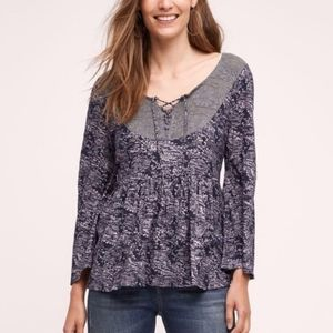 Anthropologie Belled Sleeve Lace Front Top